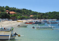Strandlandschaft bei Bali Stockbild