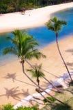Strandlandskap på den Singapore Sentosa ön Fotografering för Bildbyråer