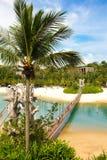 Strandlandskap på den Singapore Sentosa ön Arkivfoton