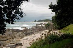 Strandlandskap, Tauranga stad, norr ö, Nya Zeeland Royaltyfri Bild