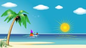 strandliggande stock illustrationer