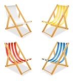 Strandligstoel van hout en stoffenvoorraad vectorillustrati die wordt gemaakt vector illustratie