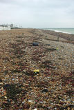 Strandline on Worthing beach. In Sussex. Lots of litter mixed in amongst the seaweed. Beach with pebbles and breakwaters. Sea visible in the distance Stock Photography