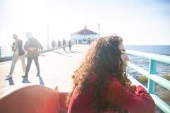 strandmanhattan pir Arkivfoto