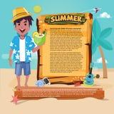 Strandmann mit hölzernem Brett zum Darstellen gesetzte Ikone des Sommers, Sommer Stockbild