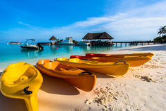 Strandmening bij Vier Seizoenentoevlucht de Maldiven in Kuda Huraa Stock Afbeelding