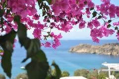 Strandmening van een venster De windmolens van Mykonos - Griekenland stock foto