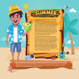 Strandmens met houten raad aan het voorstellen de zomer vastgesteld pictogram, de zomer Stock Afbeelding