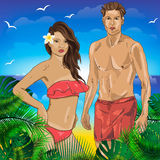 Strandmensen, hand getrokken mensen op het strand, royalty-vrije illustratie