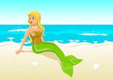 strandmermaid vektor illustrationer