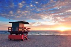 strandmiami södra soluppgång Royaltyfri Foto