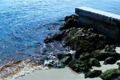 Strandozeanparadies mit grünen Felsen Stockfotografie