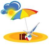 Strandparadijs met het beeldverhaal vectorillustratie van het strandmateriaal Stock Fotografie
