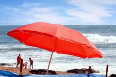 strandparaply Royaltyfria Foton