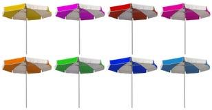 Strandparaplyer med färgrika band - Fotografering för Bildbyråer