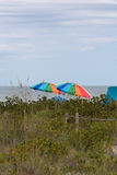 Strandparaplyer, Sanibel ö, Florida Royaltyfri Fotografi