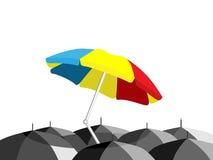 strandparaplyparaplyer Royaltyfri Bild