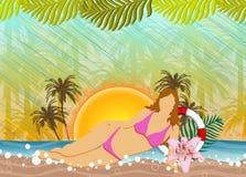 Strandparti eller bakgrund för sommarferie Arkivfoto