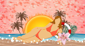 Strandparti eller bakgrund för sommarferie Arkivbilder