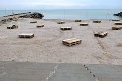 Strandpartiet förbereder sig Arkivfoton