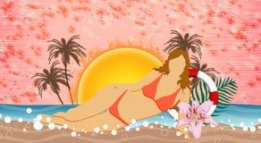 Strandpartij of de achtergrond van de de zomervakantie Stock Afbeeldingen