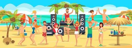 strandpartij De jeugddansen en dranken op Strand royalty-vrije illustratie