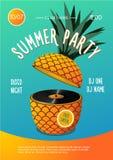 strandpartij Het festival van de de zomermuziek Affiche met ananas en vinylschijf royalty-vrije illustratie