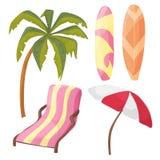 Strandpictogram Geplaatste - beeldverhaalmateriaal - lanterfanter, palm, raad, paraplu stock illustratie