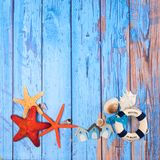 Strandplakat mit Starfishes Stockfoto