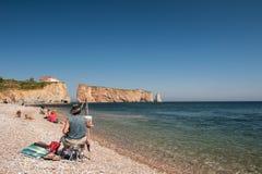 Strandplats på Perce Rock arkivfoton