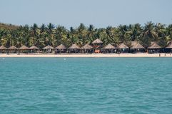 Strandplats, tropikerna, Stilla havet Gammalt fotofilter Royaltyfria Bilder