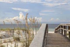 Strandpromenad över dyerna till den härliga vita sandstranden av norr Florida royaltyfria bilder