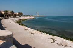 Strandpromenad i Al Khobar, Saudiarabien royaltyfria bilder