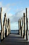Strandpromenad in i sjön Arkivbild
