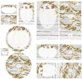 Strandpromenade met gouden overzeese haver en overzeese shells uitnodiging set1 Stock Foto
