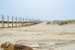 Strandpromenaden för vägen för banan för sandstranden går den wood inget kustlinjen den tropiska ön Arkivbilder