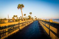 Strandpromenaden på stranden gömma i handflatan in kusten, Florida Fotografering för Bildbyråer