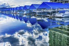 StrandpromenadMarina Piers Boats Reflection Lake Coeur D ` Alene Idaho Fotografering för Bildbyråer