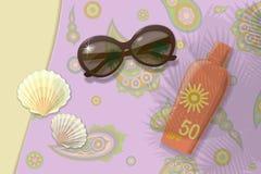 Strandreise zum Meer Sunblock schält Sonnenbrille Vektor Lizenzfreie Stockfotos