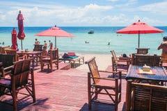 Strandrestaurang på Ko Tao Royaltyfri Foto