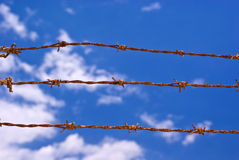 Strands of barbed wire Stock Photos