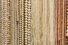 Strands of Beads and Pearls. At a Market Stock Photo