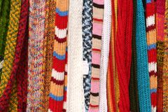 Strands of knitting work. A view of bright, colorful strands of knitting work Royalty Free Stock Photo