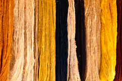 Strands of Natural Wool. Strands of naturally-dyed wool yarn hang side by side Royalty Free Stock Photography