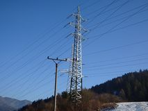 Strands of power lines. Electric power under sky Royalty Free Stock Photography