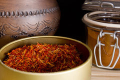 Strands of saffron powder and saffron Stock Photos