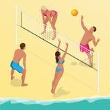 Strandsalvabasebollspelaren hoppar på det netto och försöker kvarter bollen Aktivt feriebegrepp för sommar Isometrisk vektor vektor illustrationer