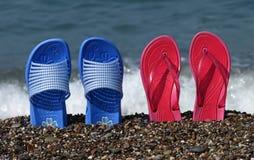 Strandsandelholzstandplätze Lizenzfreies Stockbild
