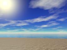 Strandsanden - i morgonen Vektor Illustrationer