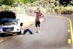 Strandsatt bilproblem arkivfoto